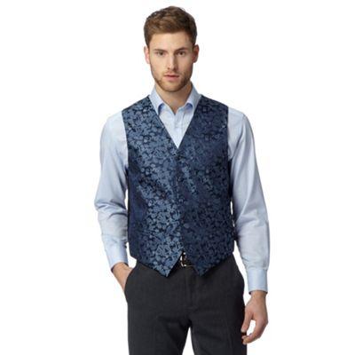 Back Tie Navy fora jacquard waistcoat - . -