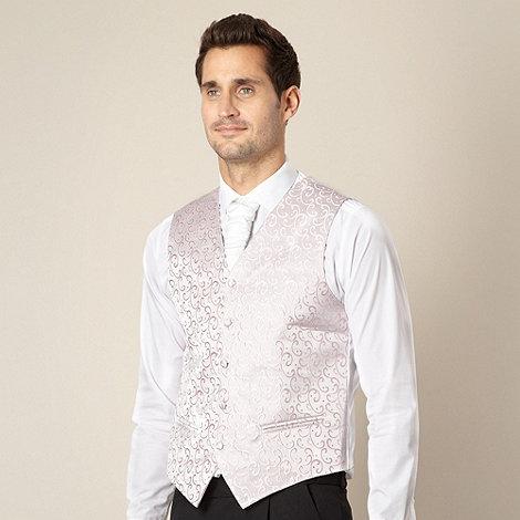Black Tie - Pale pink swirl embroidered waistcoat
