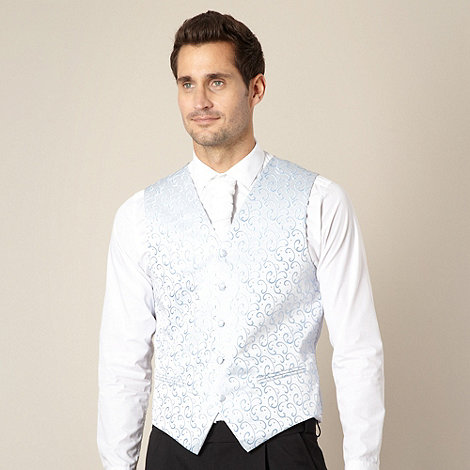 Black Tie - Light blue swirl embroidered waistcoat
