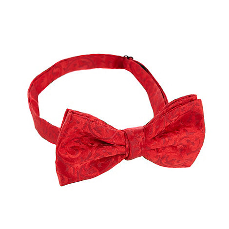 Black Tie - Red fleur patterned ready tied bow tie
