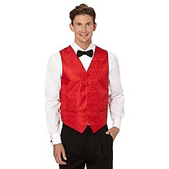 Black Tie - Red silk fleur patterned button front waistcoat