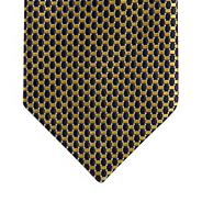 Yellow oval geometric silk tie