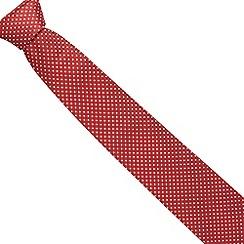 Thomas Nash - Dark red textured pin dot silk tie