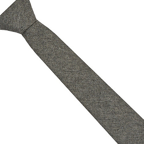 St George by Duffer - Dark grey wool blend skinny tie
