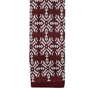 Wine snowflake and reindeer knit skinny tie