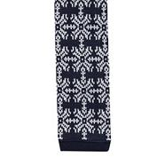 Navy snowflake and reindeer knit skinny tie