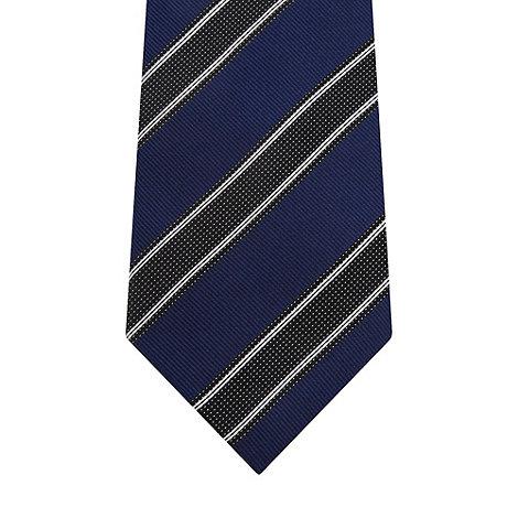 Hammond & Co. by Patrick Grant - Designer dark blue textured stripe silk tie
