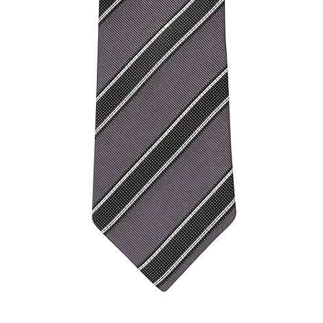 Hammond & Co. by Patrick Grant - Designer dark grey textured stripe silk tie