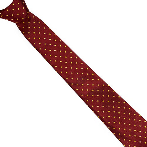 Hammond & Co. by Patrick Grant - Designer dark red polka dot silk tie