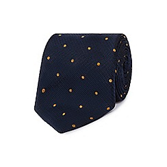 Hammond & Co. by Patrick Grant - Designer navy textured polka dot silk tie