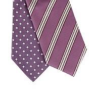 Thomas Nash - Pack of two purple diamond and triple striped skinny ties