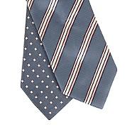Thomas Nash - Pack of two dark blue diamond and triple striped skinny ties
