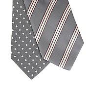 Thomas Nash - Pack of two grey diamond and triple striped skinny ties