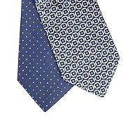 Thomas Nash - Pack of two navy spotted and geometric ties