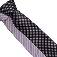 Thomas Nash - Pack of two purple fine stripe and polka dot ties