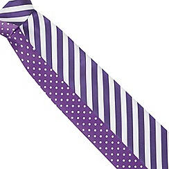 Thomas Nash - Pack of two purple slim patterned ties