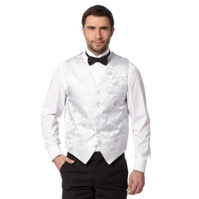 Back Tie Siver fora jacquard waistcoat - . -