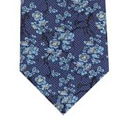 Blue floral jacquard patterned tie