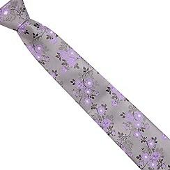 St George by Duffer - Grey textured oriental floral tie