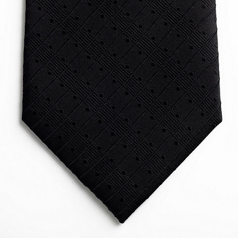 Thomas Nash - Black semi dot and striped tie