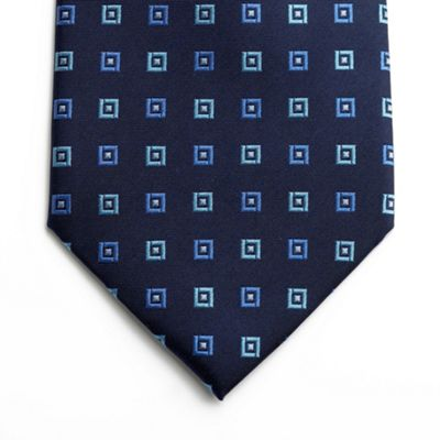 Blue Woven Silk Square Design Tie