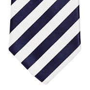Designer dark blue striped silk tie