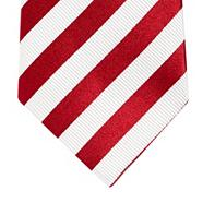 Designer red striped silk tie
