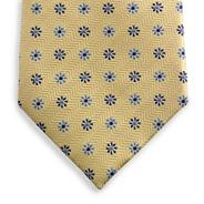 Yellow floral herringbone tie