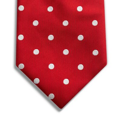 polka dotted ties. This red polka dot tie is made