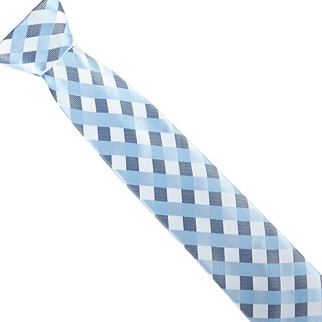 Thomas Nash - Grey large gingham design tie
