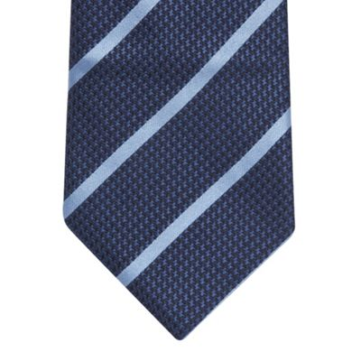 blue striped tie. Blue bold stripe silk tie