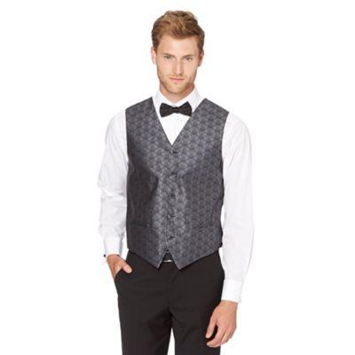 Back Tie Dark grey damask printed waistcoat - . -