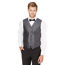 Dark grey damask printed waistcoat