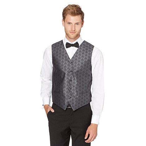 Black Tie - Dark grey damask printed waistcoat