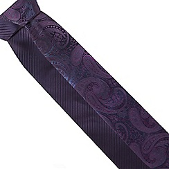 Thomas Nash - Pack of two purple fine striped and paisley skinny ties