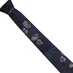 Jeff Banks Brit - Designer navy jacquard rose slim blade tie