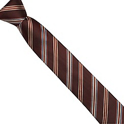 Jeff Banks Brit - Designer wine collegiate striped slim tie