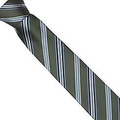 Jeff Banks Brit - Designer dark green collegiate striped slim tie