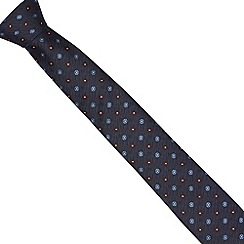 Jeff Banks Brit - Designer navy textured floral slim tie