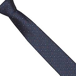 Jeff Banks Brit - Designer navy stitched pin dot slim tie