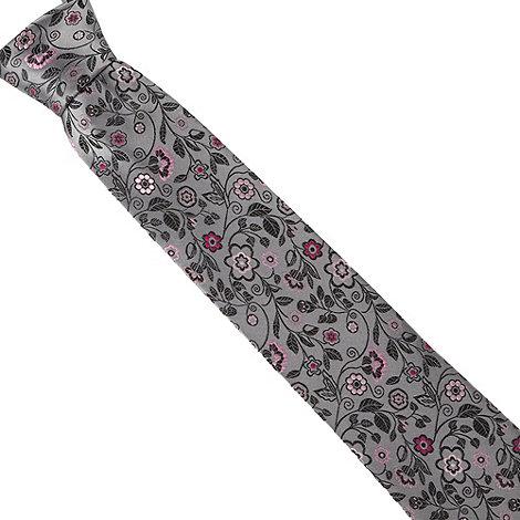 Thomas Nash - Grey fancy floral silk tie