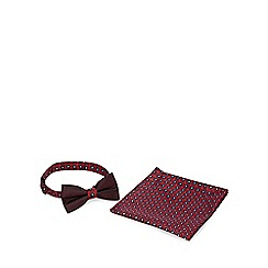 Red Herring - Dark red circle geo bow tie and pocket square