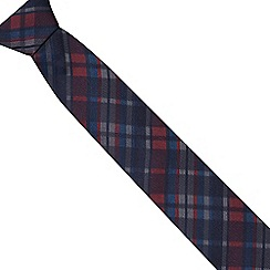 Red Herring - Navy tartan checked slim tie