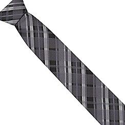 Red Herring - Grey tartan striped slim tie