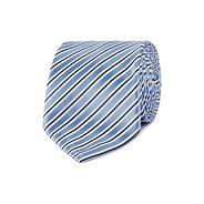 Designer blue satin stripe tie