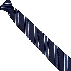 Jeff Banks - Navy multi textured stripe silk tie