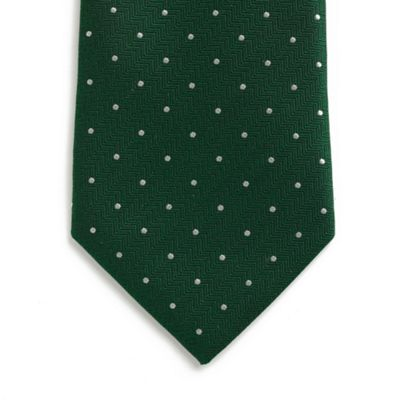 Dark Green Textured Spot Silk Tie