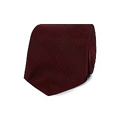 J by Jasper Conran - Designer dark red textured check silk tie