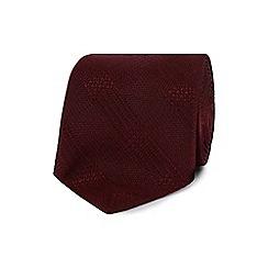 J by Jasper Conran - Designer dark red textured check silk tie