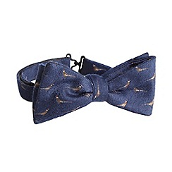 Hammond & Co. by Patrick Grant - Designer navy embroidered pheasants bow tie